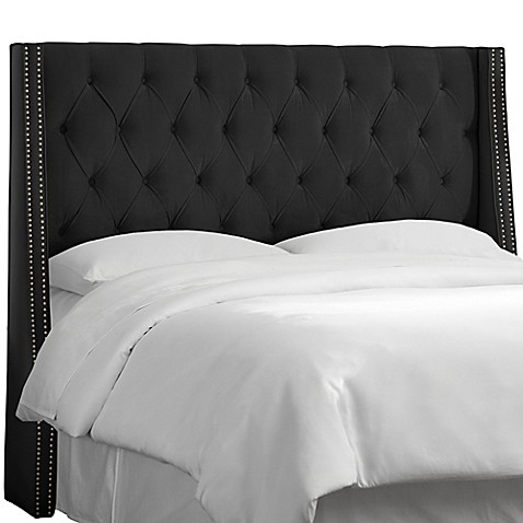 buy skyline furniture california king tufted nail button wingback headboard in velvet black from. Black Bedroom Furniture Sets. Home Design Ideas