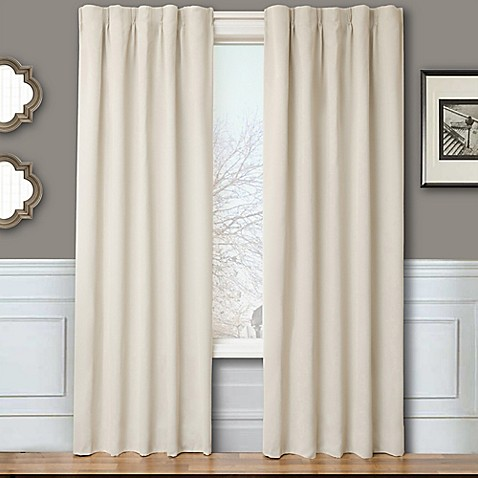 Buy Blackout 96 Inch Window Curtain Panel Pair With Hardware In Natural From Bed Bath Beyond
