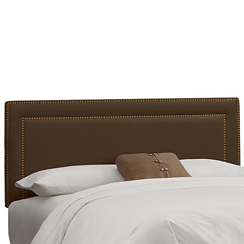 Buy Skyline Furniture Twin Nail Button Border Headboard In Linen Chocolate From Bed Bath Beyond