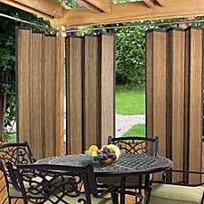 image of Easy Glide Indoor/Outdoor Bamboo Ring Top Window Curtain Panel in  Espresso