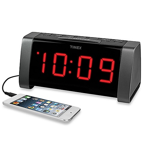 timex am fm jumbo display dual alarm clock radio in black bed bath beyond. Black Bedroom Furniture Sets. Home Design Ideas