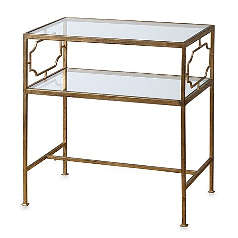 Uttermost Genell Gold Leaf Iron Glass Side Table Bed