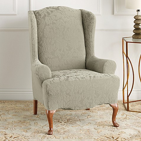 Sure Fit® Stretch Jacquard Damask Wingback Chair Slipcover in Sage