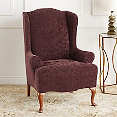 Image Of Sure Fit® Stretch Jacquard Damask Wingback Chair Slipcover