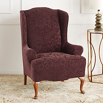 Chair recliner slipcovers dining room chair covers bed bath image of sure fit stretch jacquard damask wingback chair slipcover sxxofo