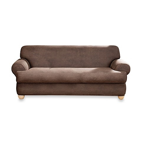 Sure Fit Two Piece Stretch Leather T Cushion Sofa