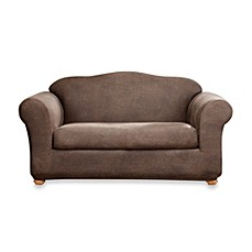 Image Of Sure FitR Two Piece Stretch Leather Loveseat Slipcover