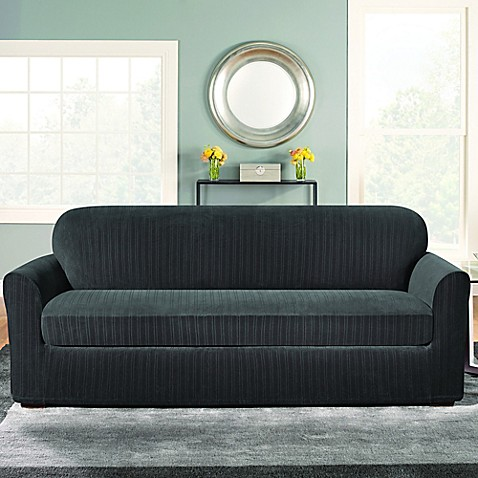 Buy Sure Fit Stretch Pinstripe 2 Piece Sofa Slipcover In Black From Bed Bath Beyond