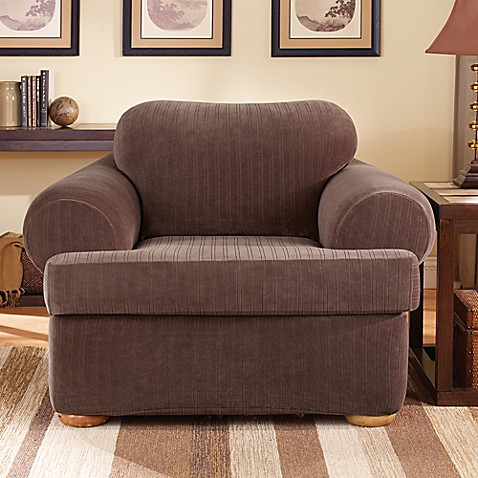 Sure Fit Stretch Pinstripe 2 Piece T Cushion Chair