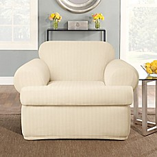 image of Sure Fit® Stretch Pinstripe 2-Piece T-Cushion Chair Slipcover