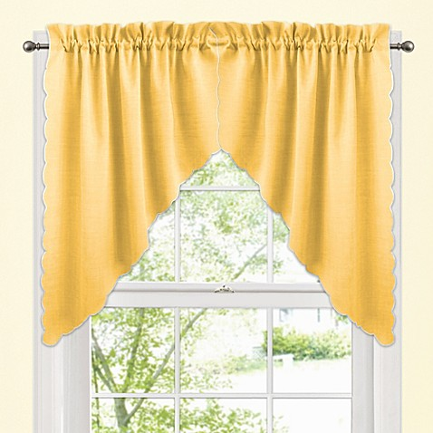 Victoria window curtain swag valance pair in yellow bed - Swag valances for bathroom windows ...