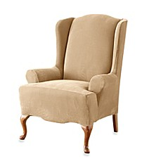 image of Sure Fit® Stretch Pique Wing Chair Slipcover