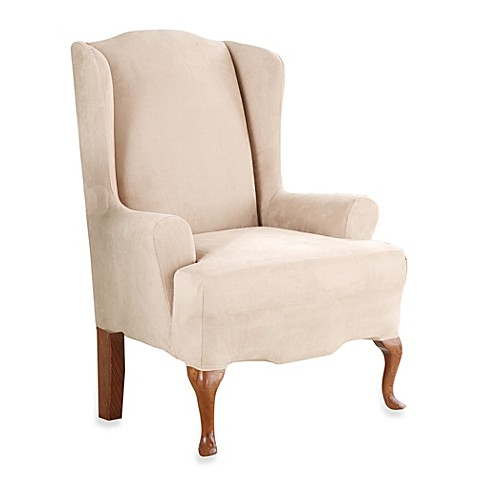 Sure Fit Stretch Suede Wing Chair Slipcover Bed Bath