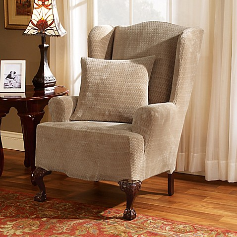 Sure Fit 174 Stretch Royal Diamond Wing Chair Slipcover Bed