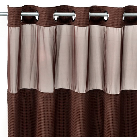 Hooklessu00ae Waffle 71Inch x 74Inch Fabric Shower Curtain and Liner Set in Chocolate  Bed Bath