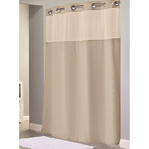 waffle 71inch x 86inch long fabric shower curtain in taupe