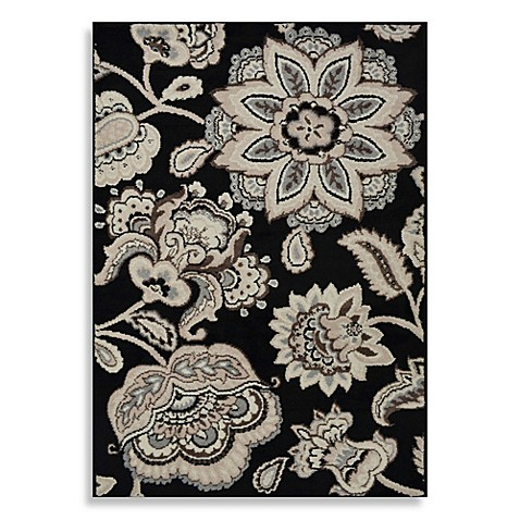 Image Of Westwood Floral Accent Rug In Black.