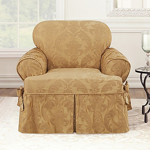 Sure Fit Matelasse Damask T Cushion Chair Slipcover Bed