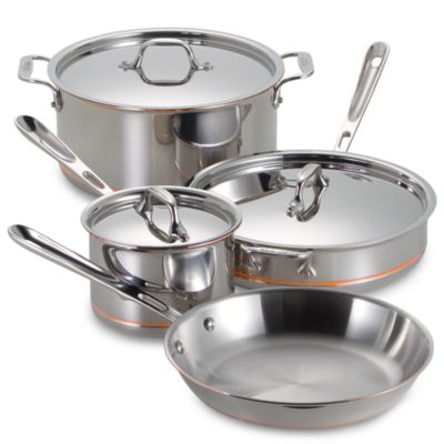 AllClad Copper Core 7Piece Cookware Set and Open Stock Bed Bath