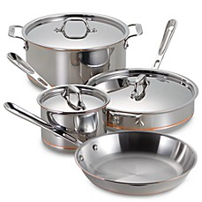 image of allclad copper core 7piece cookware set and open stock