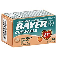 image of Bayer 36-Count 81 mg Low Dose Chewable Aspirin