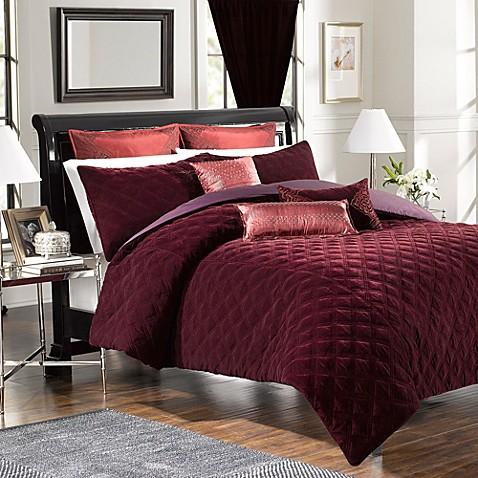 velvet washed silk european pillow sham in bordeaux bed
