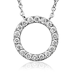 image of Violet and Sienna 14K White Gold .25 cttw Diamond Open Circle Pendant
