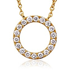 image of Violet and Sienna 14K Yellow Gold .25 cttw Diamond Open Circle Pendant