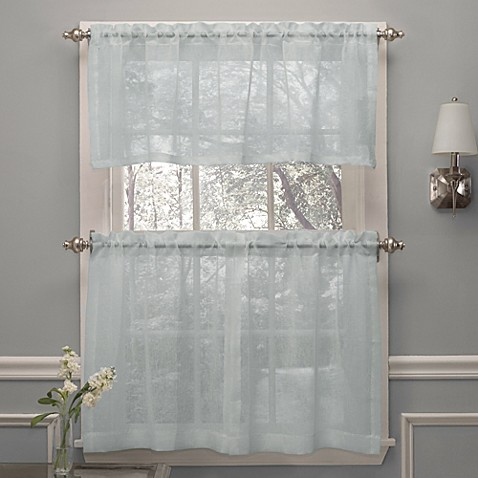 Crushed voile window curtain tier pairs and valance in spa for Window voiles
