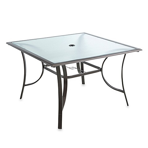 44 Inch 4 Person Square Glass Top Dining Table Bed Bath