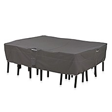 image of classic accessories ravenna rectangularoval patio table and chair set cover in black furniture covers