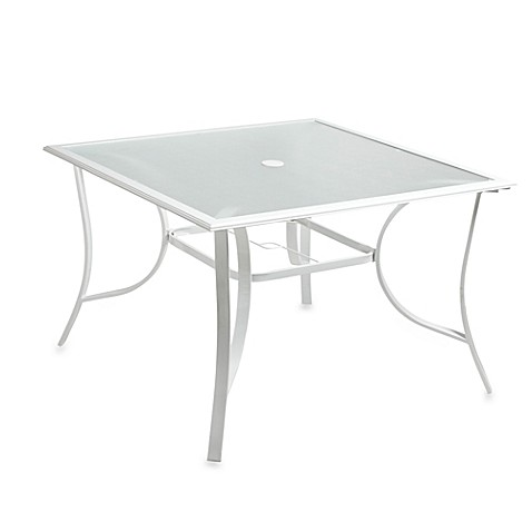Buy 44 Inch 4 Person Square Glass Top Dining Table In White From Bed Bath Beyond