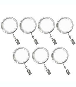Aros con pinza de acero para cortinas Cambria® Premier Complete color níquel cepillado Set de 7pzas.
