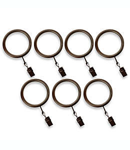 Aros con pinzas de acero para cortinas Cambria® Premier Complete color bronce aceitado Set de 7 pzas.