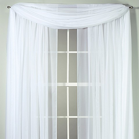 Voile sheer window curtain panel and scarf bed bath beyond for Window voiles
