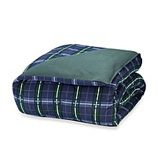 image of The Seasons Collection® Reversible Flannel Comforter in Blackwatch/Forest Green