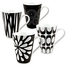 image of Konitz Black and White Mugs by Jessica Flick (Set of 4)