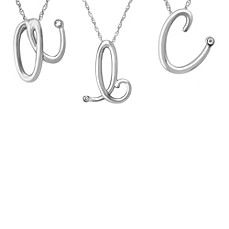 image of Violet and Sienna Sterling Silver Diamond Accented Initial Pendant