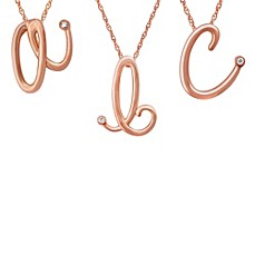image of Violet and Sienna 14K Rose Gold Plated Sterling Silver .01 cttw Diamond Letter Pendant