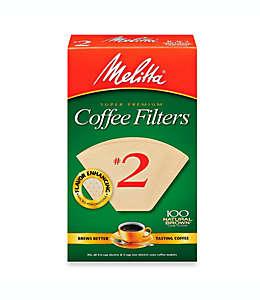 Filtros para café súper premium Melitta®, del número dos, 100 pzas