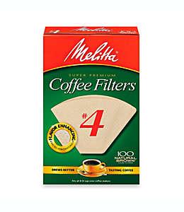 Filtros para café súper premium, Melitta®, del número 4 en marrón natural, 100 pzas