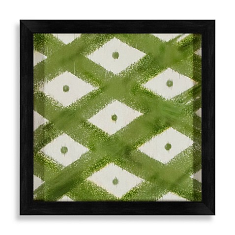 Ikat Shapes Shadowbox Wall Art in Green and White - Bed Bath & Beyond