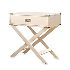 image of Verona Home One Drawer Accent Table/Cross Leg Nightstand in White