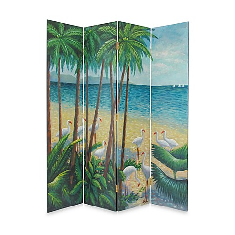 Beach 4-Panel Wood Room Divider Floor Screen