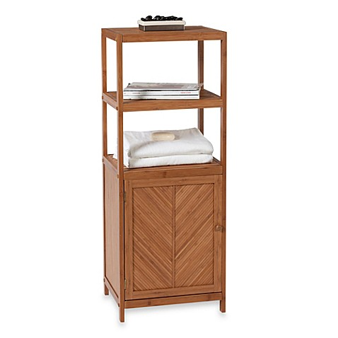 bamboo 3 shelf space saver tower with cabinet from bed bath beyond