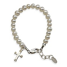 image of Cherished Moments Sterling Silver and Freshwater Pearl Lacey Bracelet