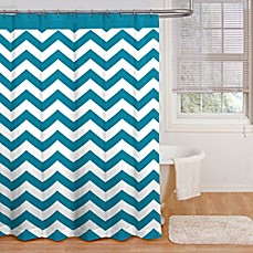 image of Ryder 72-Inch x 72-Inch Shower Curtain in Peacock Blue/White