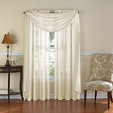 image of Venetian Stripe Rod Pocket Sheer Window Curtain Panel