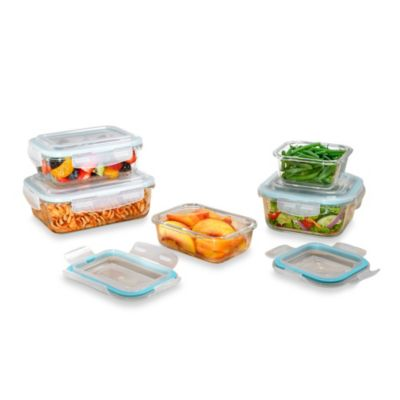 Pro Glass 10 Piece Food Storage Set with Easy Snap Lids Bed Bath