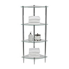 Creative Bath Lu0027Etager 4 Shelf Glass Corner Tower In Chrome